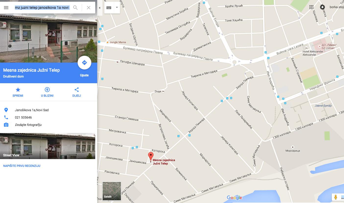 mapa MZ Juzni Telep_Janosikova 1a_Novi Sad